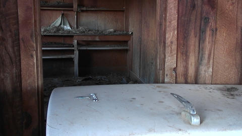 Medium-shot of the interior of an old abandoned farm... Stock Video Footage