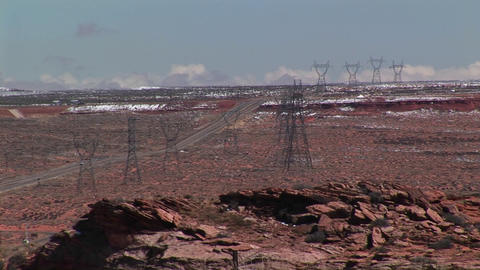 High-angle of electrical towers stretching across an Arizona desert Footage