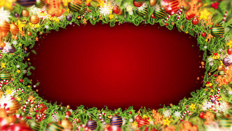 Christmas decoration particles Frame,Red background,Loop CG動画