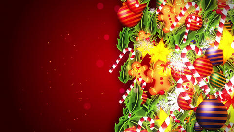 Christmas decoration particles Frame,Red background,Loop Animation