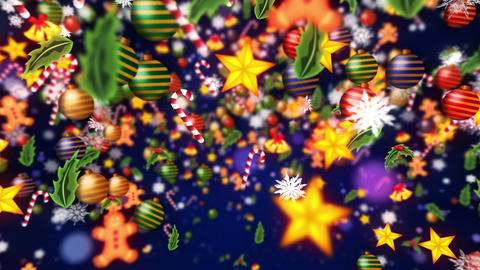 Christmas decoration particles,Blue background,Loop Animation