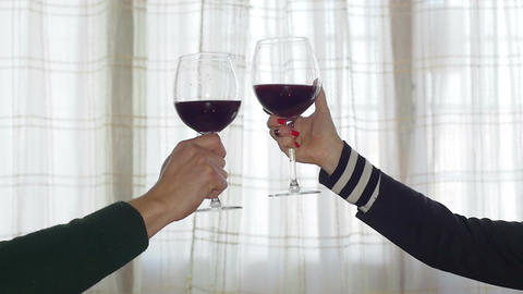 young couple at home toasting with wine, tent, window Footage