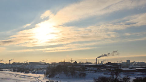 Industrial Zone. Ekaterinburg. View from Uktusskih mountains. Russia. TimeLapse Footage