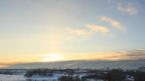 Winter Town, Industrial Area. Ekaterinburg. Russia. Time Lapse Footage