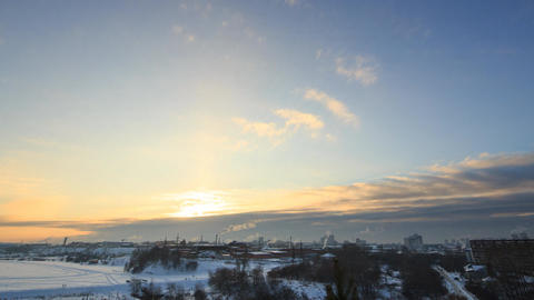 Clouds over the city in winter. Ekaterinburg. Russia. TimeLapse Footage