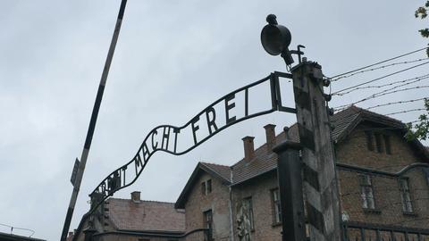 Auschwitz Gate on Bad Weather Footage
