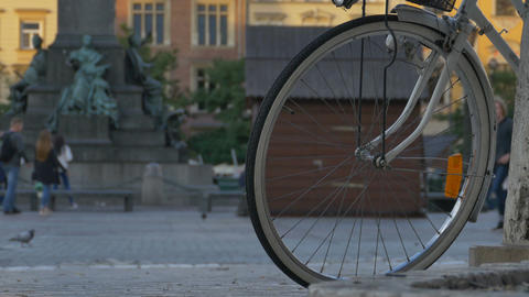 Bicycle and People in Oldtown Footage
