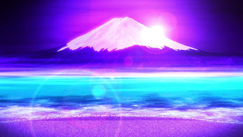 Mt Fuji from Lake,CG Animation,Loop,Blue Animation
