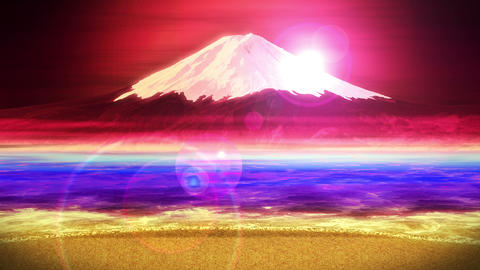 Mt Fuji from Lake,CG Animation,Loop,Red Animation