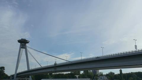 Bridge of the Slovak National Uprising in Bratislava Footage