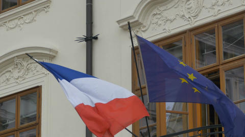 Flag of France and European Union Footage