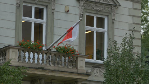 Flag of Poland on Balcony Footage