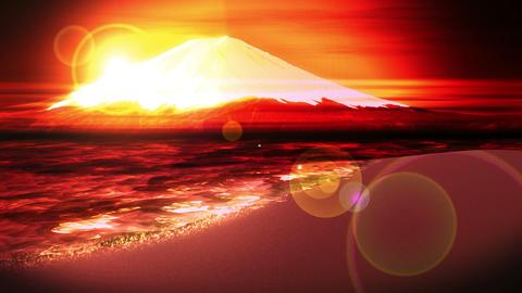 Mt Fuji from Lake,CG Animation,Loop,Yellow Animation