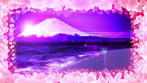 Mt Fuji from Lake,plum blossom,CG Animation,Loop,Blue CG動画