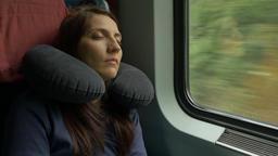 Woman Sleeping in Train Footage