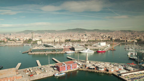 timelapse of barcelona commercial harbour and city Live Action