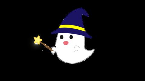 魔法のステッキを振るオバケ CG動画
