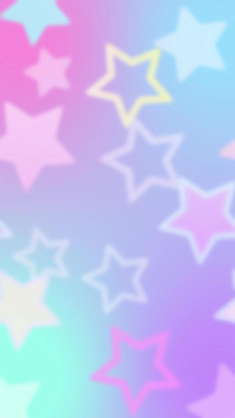 レインボーカラーがキュートな星のモーションパターン背景 After Effectsテンプレート