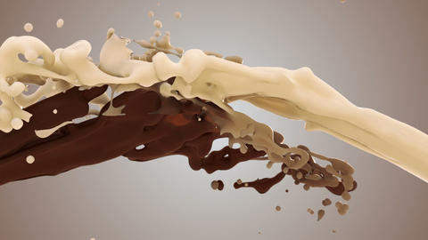 Milk and chocolate splash in slow motion 3d animation of white and brown liquid cream drops splash Live Action