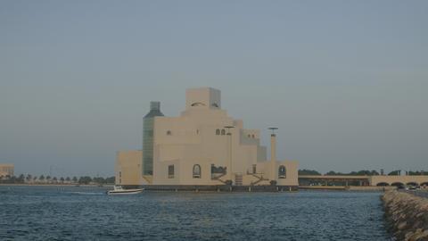 Museum of Islamic Art Doha Qatar exterior sunset shot from Doha corniche Live Action