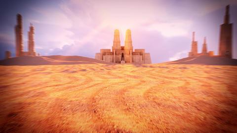 3D Desert Landscape with Ancient Buildings Loop Background Animation