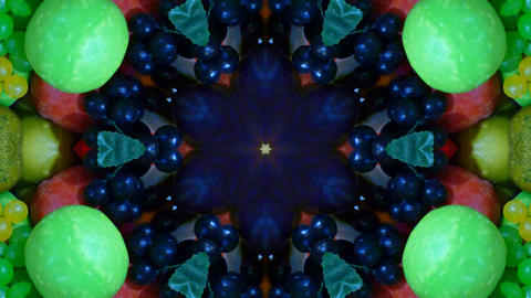 Kaleidoscope fruit vegetable 4k312 Footage