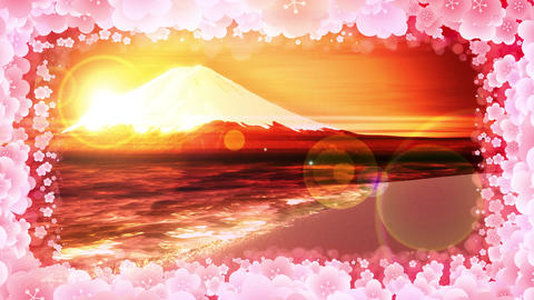 Mt Fuji from Lake,plum blossom,CG Animation,Loop,Yellow Animation