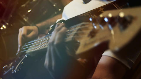 playing bass guitar: group, band, session, rock music, sound, song Footage