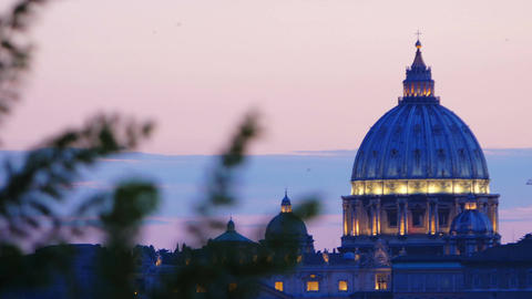 sunset views of St. Peter's Basilica in Rome: Vatican, Christianity, faith, pope Footage
