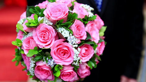 Closeup Large Wedding Bouquet of Pink Roses Footage