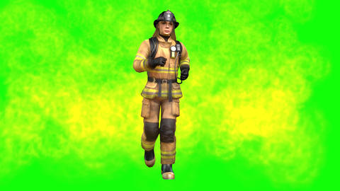873 4K Equility 3D computer generated FIRE woman jogging to to her job Animation