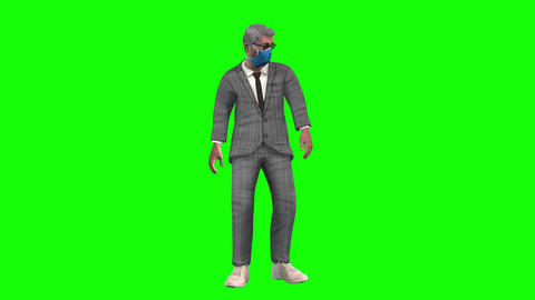 877 4K LIFE IN PANDEMIC 3D man looking around with fear then walks with confidence Animation