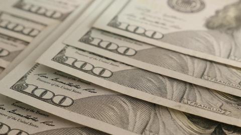 United States of America dollar banknotes slow tilt 4K Live Action