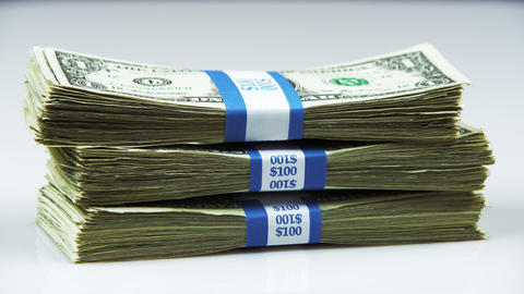 Bundle of American money panning shot Live Action