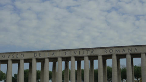 clouds in the sky: timelapse of skyline of Roman Civilization museum in Rome Footage