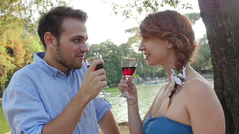 romantic lovers drinking with red wine: drink alchool in the park Live Action