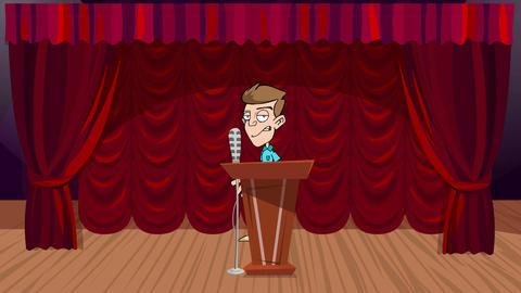 Cartoon Man, Speaking at Podium on Stage: Loop Animation