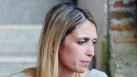 sad woman thinking: sadness, loneliness, depression, depressed Footage