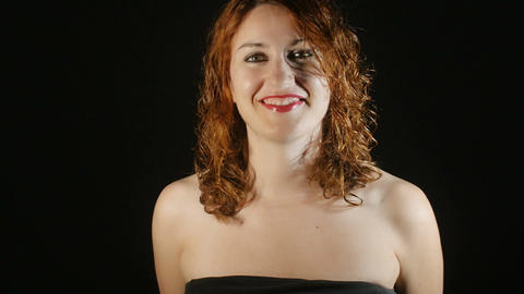 happy young red haired woman with bright smile:... Stock Video Footage