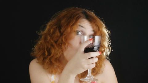 drunk woman dance and drink red wine: alcohol, addiction, club Footage