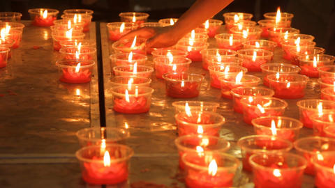 Burning Candles In Chinese Temple Footage