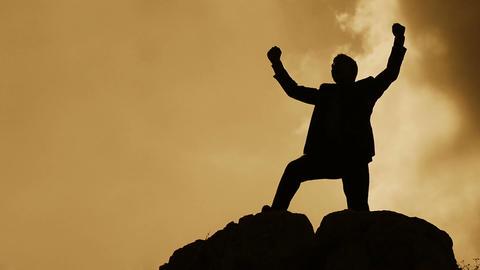 businessman exults for the success reached: rejoice, triumph Footage