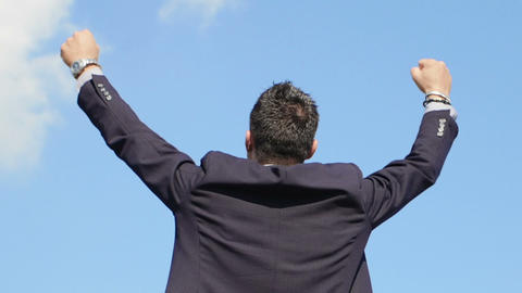 young businessman exults for realization of the success: achievement, glory, top Live Action