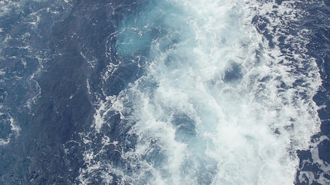 Ocean and Mediterranean Sea wake behind large Cruise ship Footage