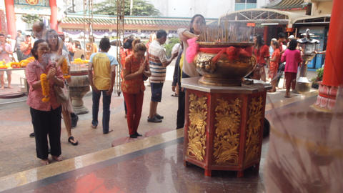 People offering prayers to celebrate the Chinese New Year festival Footage