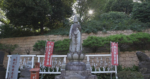 A statue of God at Meguro fudo temple in Tokyo Live Action