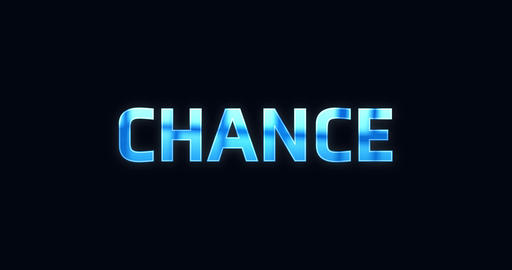 Chance. Electric lightning word. Text Animation Animation