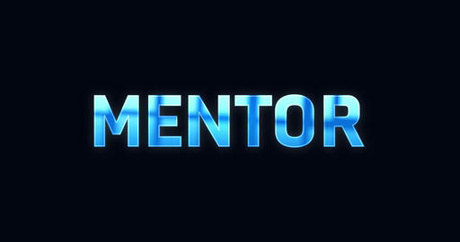 Mentor. Electric lightning word. Text Animation Animation