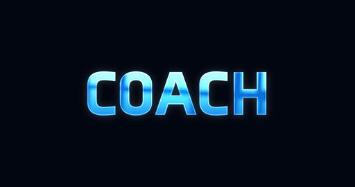 Coach. Electric lightning word. Text Animation Animation