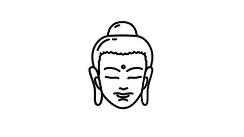Buddha line icon on the Alpha Channel Animation